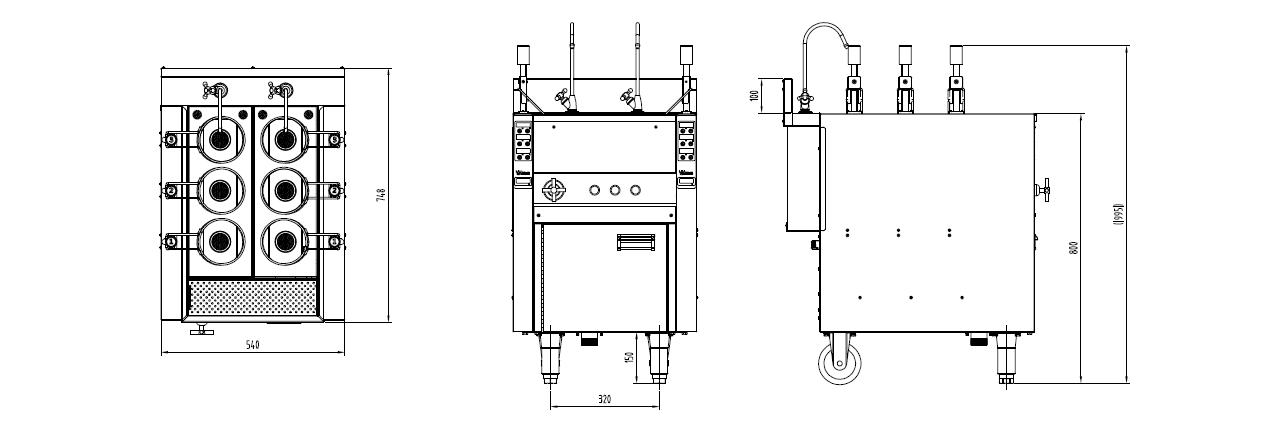 自动升降煮面机三视图